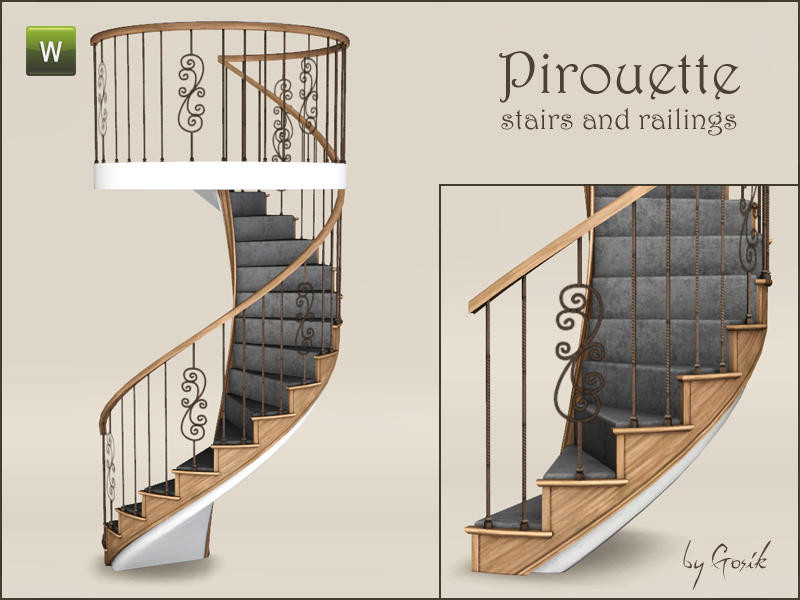 Best ideas about Spiral Staircase Sims 4 . Save or Pin Gosik s Pirouette spiral stairs and railings Now.