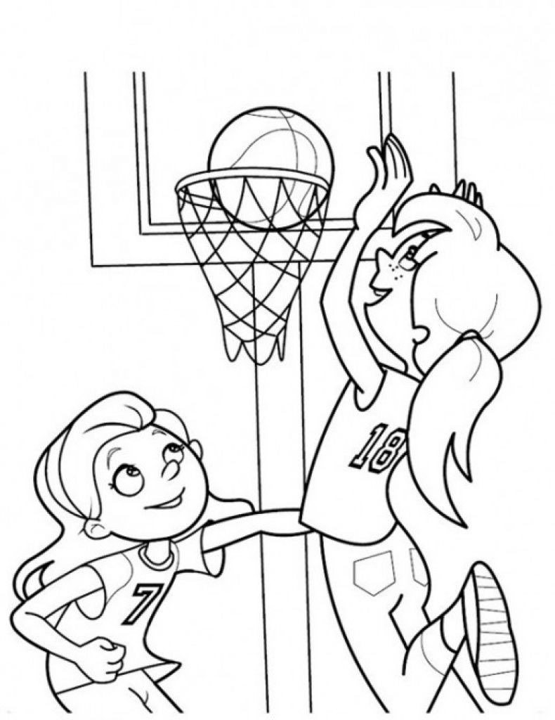 Best ideas about Sports Coloring Pages For Girls . Save or Pin Girls Playing Basketball Coloring Page Now.