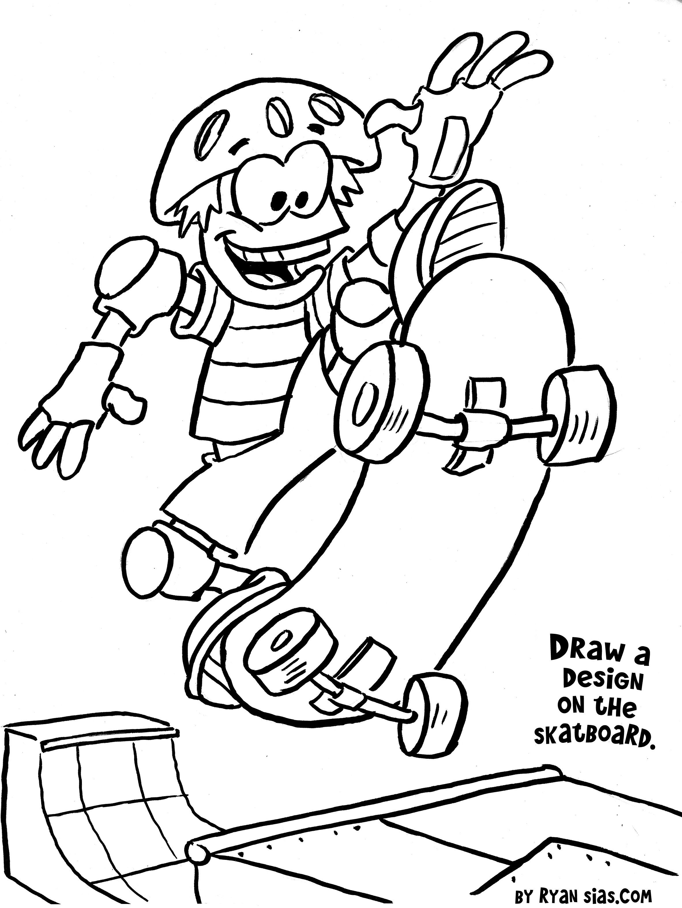 Best ideas about Sports Printable Coloring Pages . Save or Pin Free Printable Sports Coloring Pages Skateboard Now.