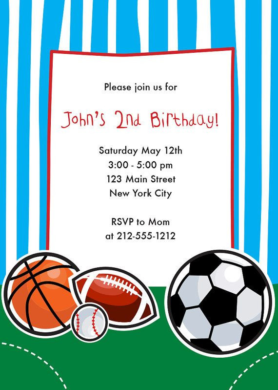 Best ideas about Sports Themed Birthday Invitations . Save or Pin Sports Themed Birthday Invitation Sports Birthday Party Now.
