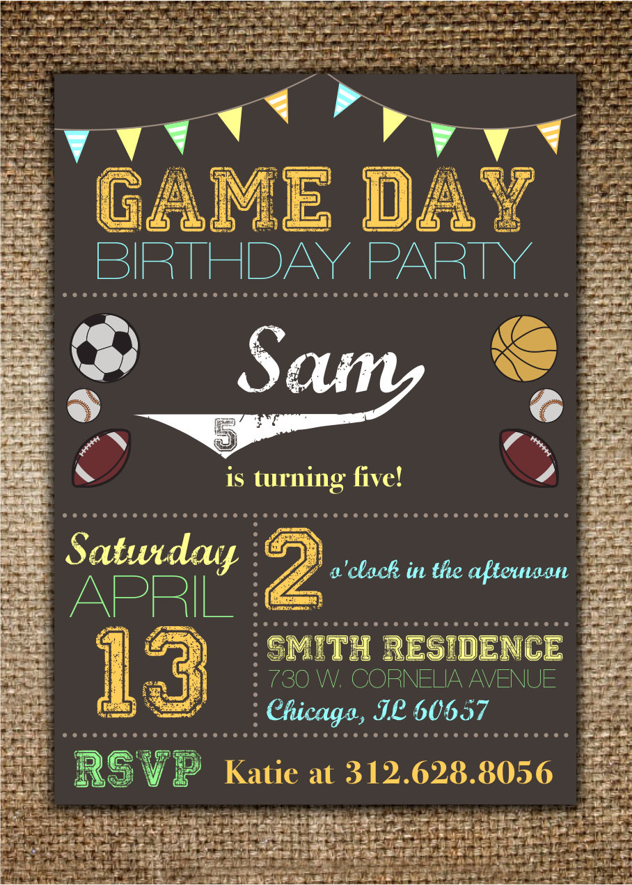 Best ideas about Sports Themed Birthday Invitations . Save or Pin Children s Birthday Invitation Sports Theme Game Day Now.