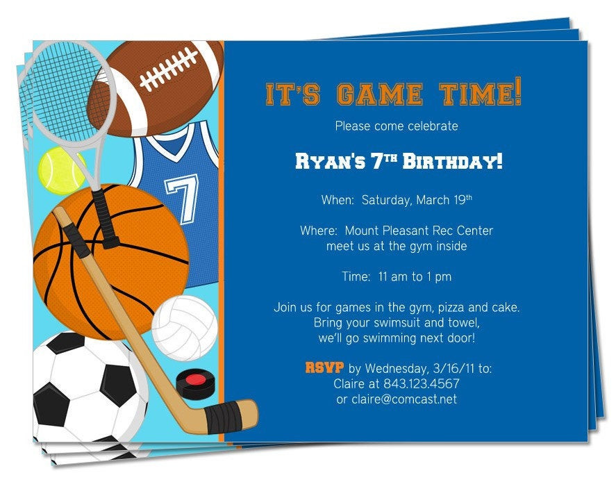 Best ideas about Sports Themed Birthday Invitations . Save or Pin PRINTABLE Birthday Sports Theme Invitation by Now.