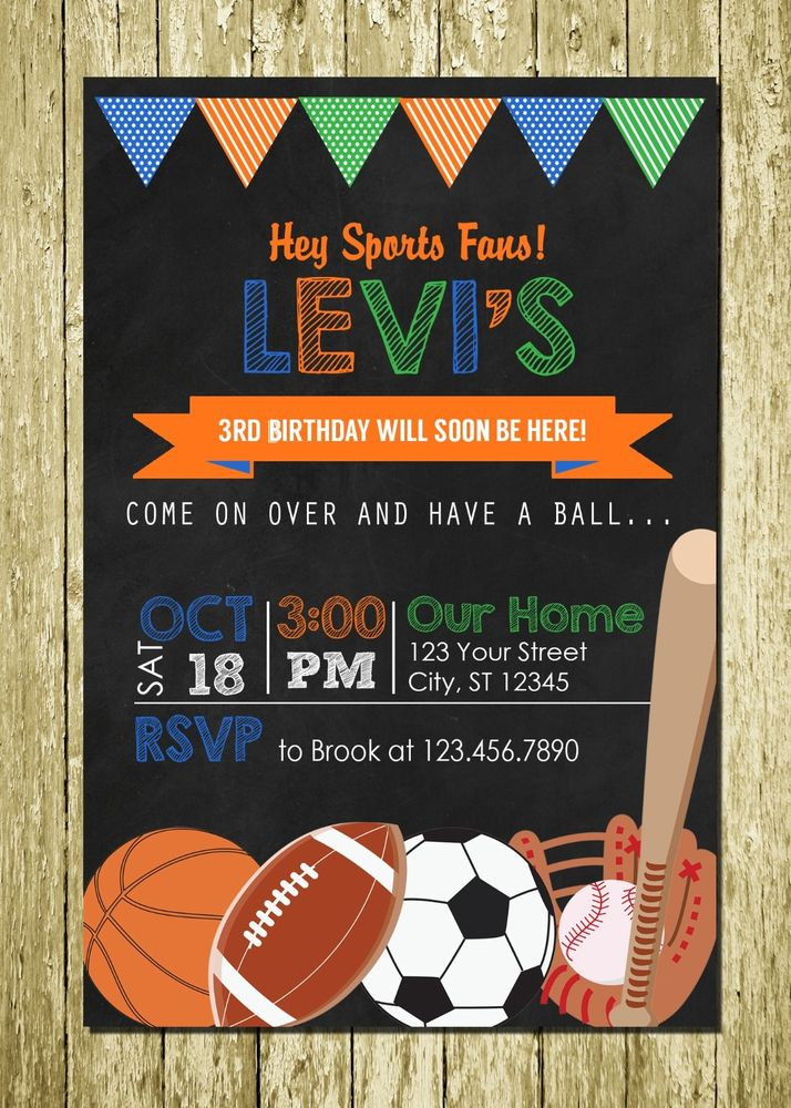Best ideas about Sports Themed Birthday Invitations . Save or Pin Sports Theme Personalized Printed Chalkboard Birthday Now.