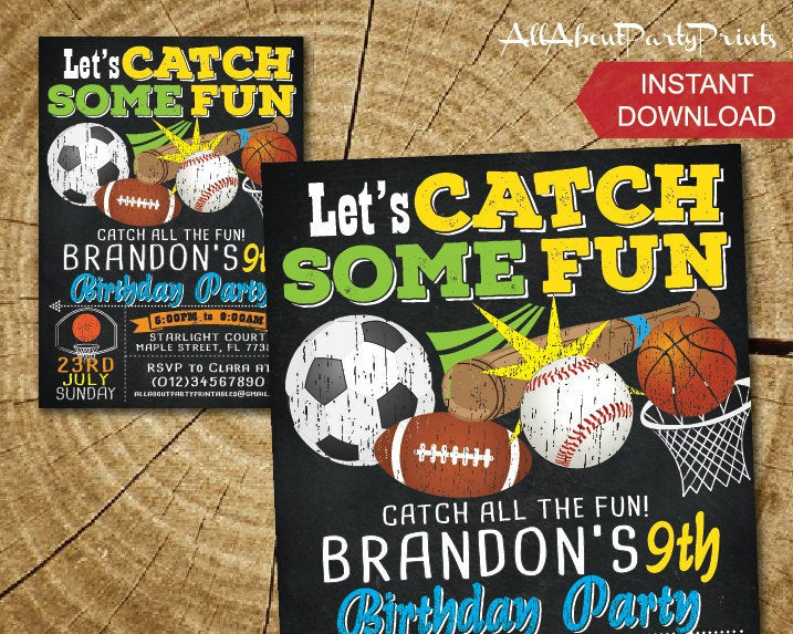 Best ideas about Sports Themed Birthday Invitations . Save or Pin Sports themed birthday invitation card printable Turnaround Now.