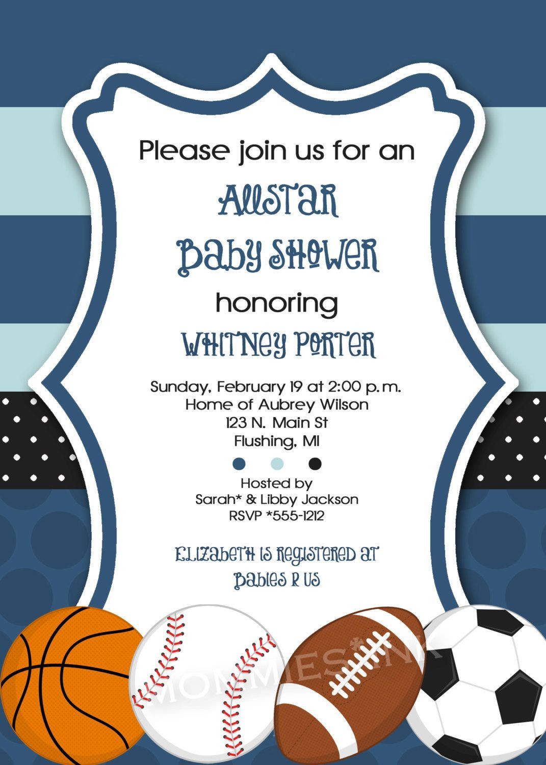 Best ideas about Sports Themed Birthday Invitations . Save or Pin Mod Allstar Sports Theme Baby Shower Invitation All Star Now.