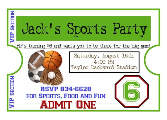 Best ideas about Sports Themed Birthday Invitations . Save or Pin Personalized Sports Invitations Football Basketball Soccer Now.