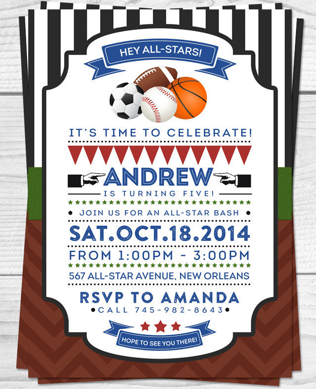 Best ideas about Sports Themed Birthday Invitations . Save or Pin All Sports Party Now.