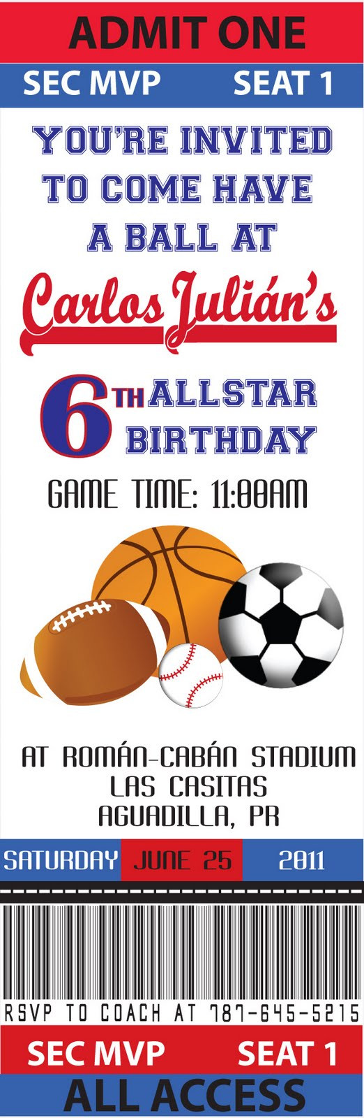 Best ideas about Sports Themed Birthday Invitations . Save or Pin Partylicious Events PR June 2011 Now.
