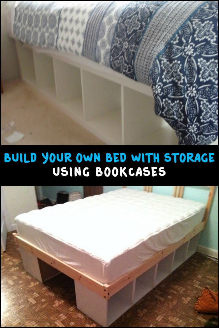 Best ideas about Storage Beds DIY . Save or Pin Build an inexpensive bed with storage using bookcases Now.