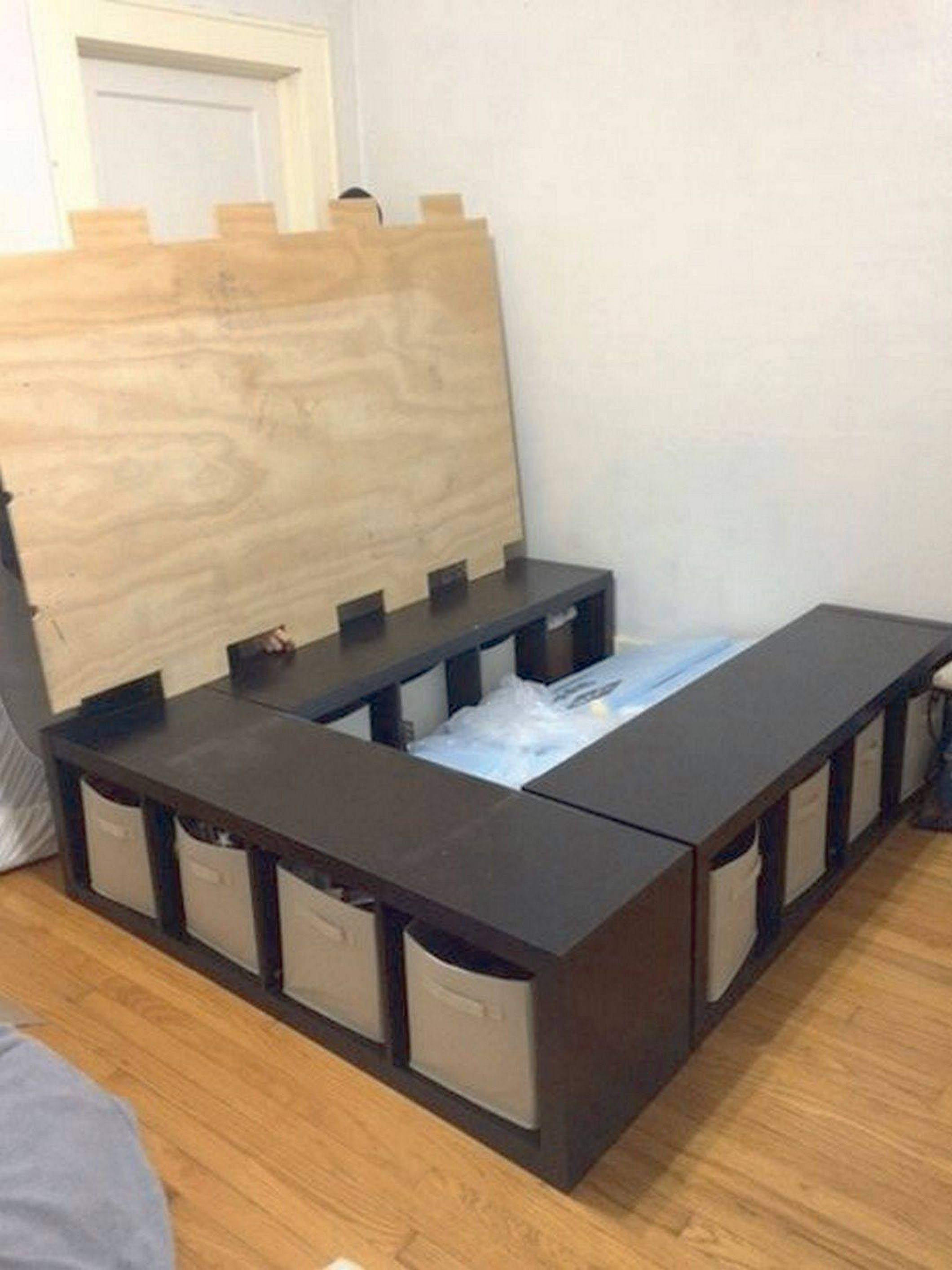 Best ideas about Storage Beds DIY . Save or Pin DIY Storage Bed place three 4 cube storage shelves in a u Now.