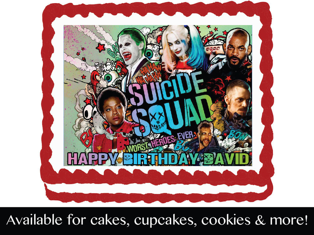 Best ideas about Suicide Squad Birthday Party . Save or Pin Suicide Squad Edible Birthday Party Cake Cupcake Toppers Now.