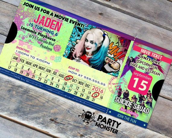 Best ideas about Suicide Squad Birthday Party . Save or Pin Suicide Squad Movie Ticket Invitation Suicide Squad Birthday Now.