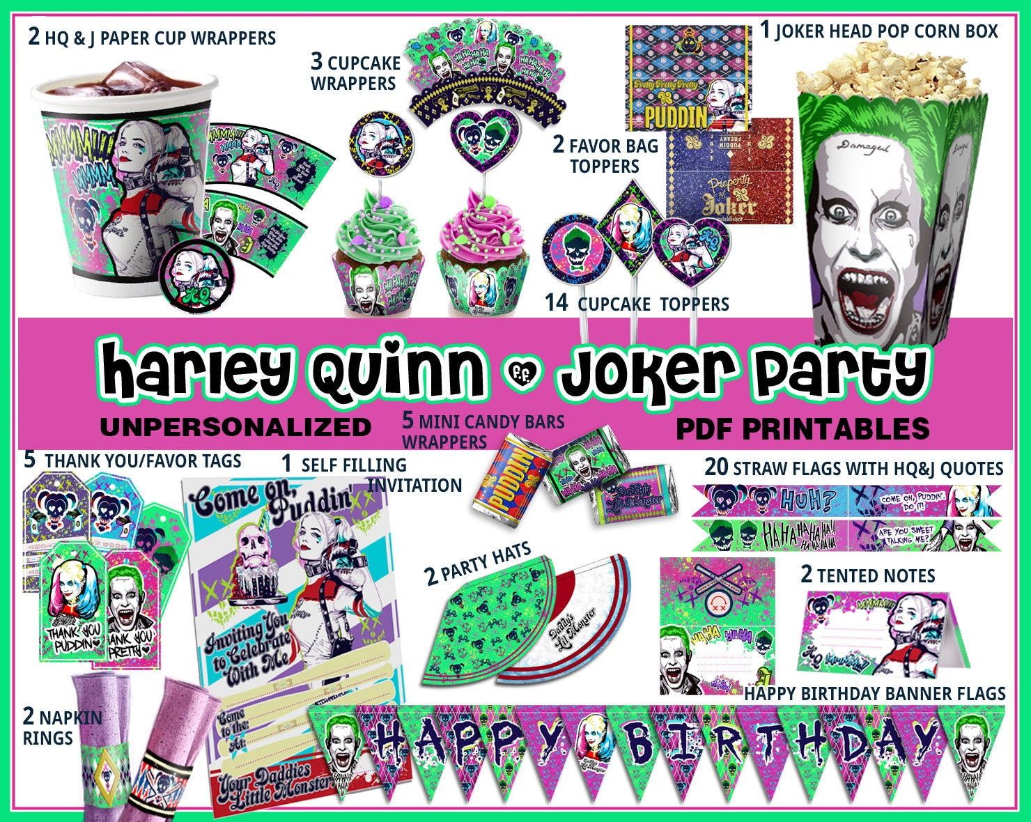 Best ideas about Suicide Squad Birthday Party . Save or Pin Harley Queen birthday party Suicide Squad party Harley Quinn Now.