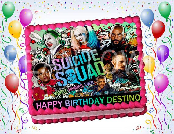 Best ideas about Suicide Squad Birthday Party . Save or Pin Suicide Squad Custom Edible Cake Topper by Now.