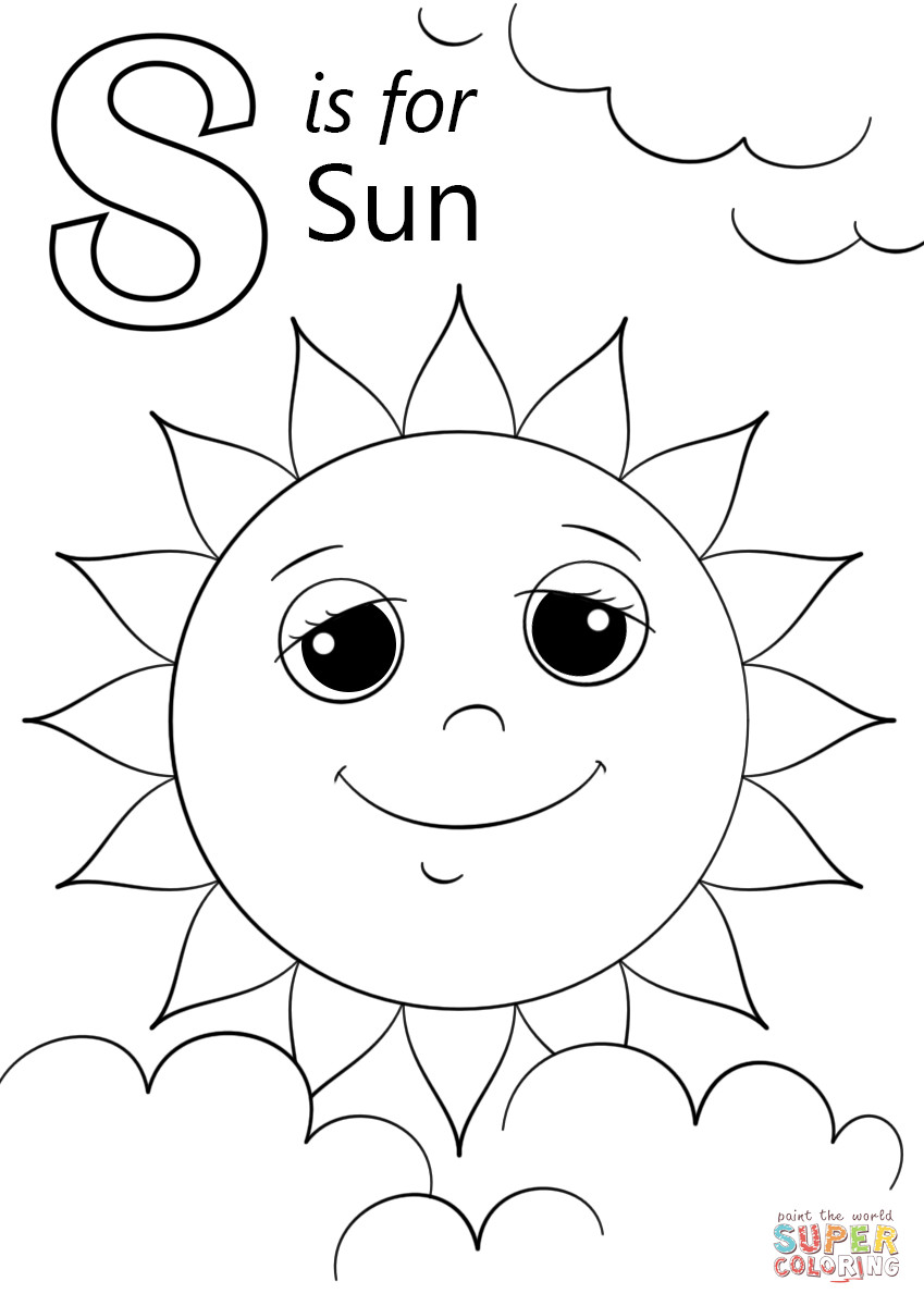 Best ideas about Sun Preschool Coloring Sheets . Save or Pin Letter S is for Sun coloring page Now.
