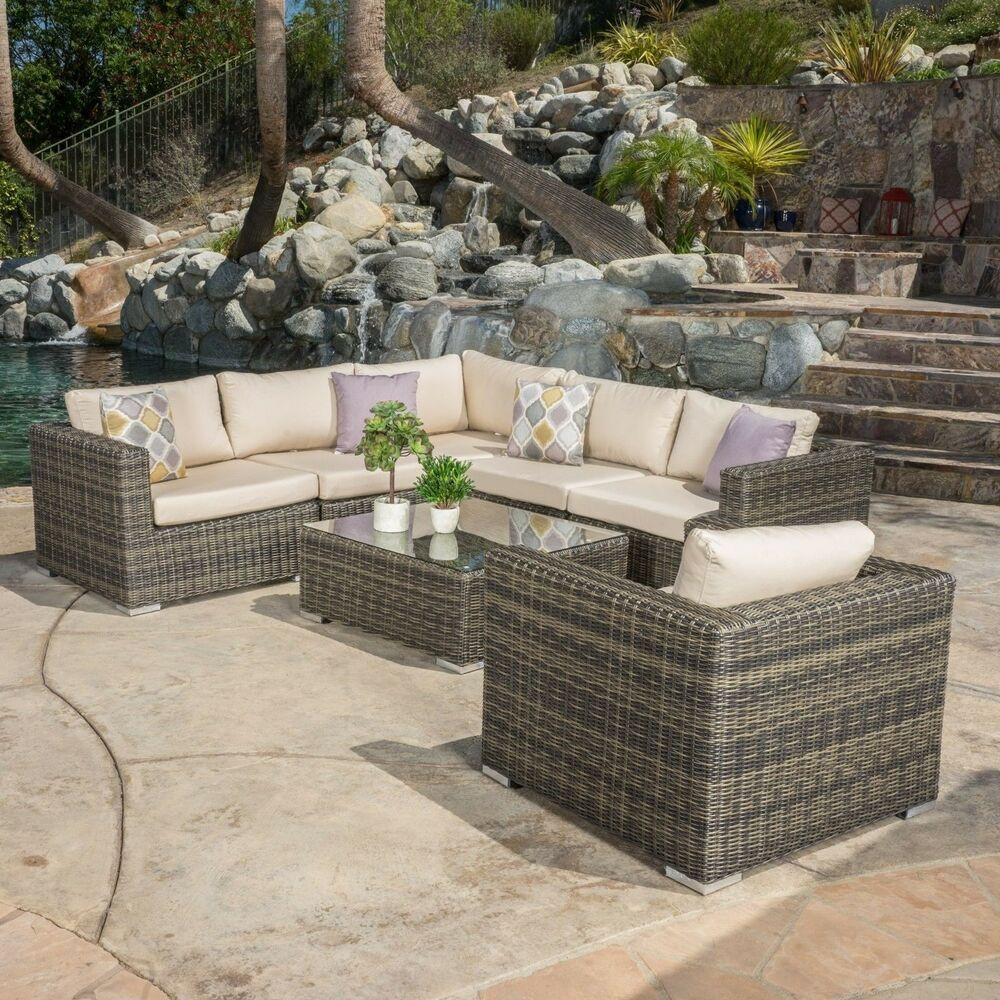 Best ideas about Sunbrella Outdoor Furniture . Save or Pin Contemporary Outdoor 7 piece Wicker Seating Sectional Set Now.