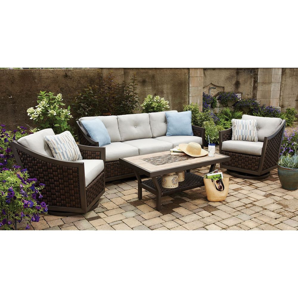 Best ideas about Sunbrella Outdoor Furniture . Save or Pin patio furniture 4 Piece Deep Seating Set with Premium Now.