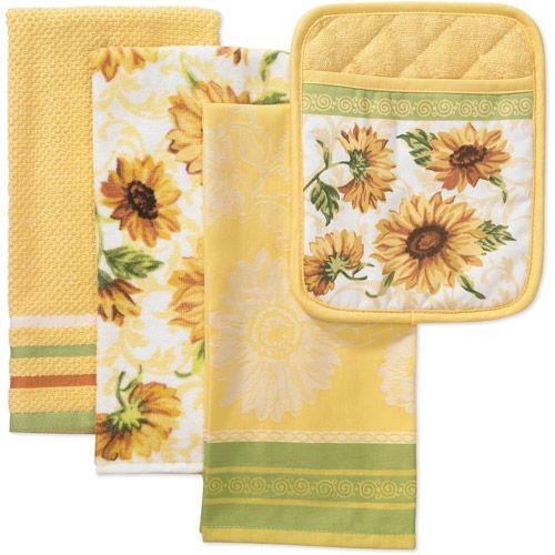 Best ideas about Sunflower Kitchen Decor Walmart . Save or Pin Walmart Better Homes and Gardens 4 Piece Kitchen Now.