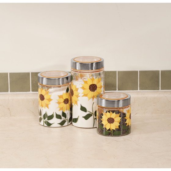 Best ideas about Sunflower Kitchen Decor Walmart . Save or Pin Sunflower Canisters Set of 3 Walmart Now.