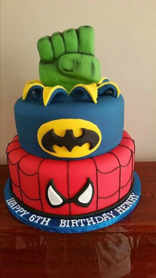 Best ideas about Superhero Birthday Cake . Save or Pin Superhero themed birthday cake Spiderman batman and hulk Now.