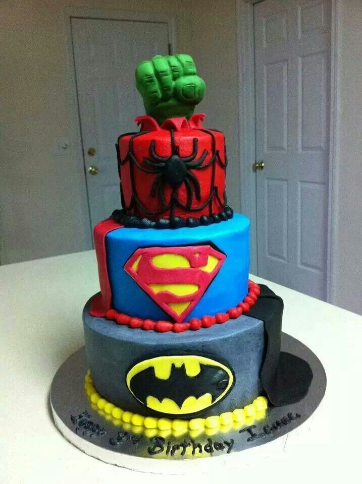 Best ideas about Superhero Birthday Cake . Save or Pin Super Hero Tiered Cake pic Batman Superman Spiderman Now.