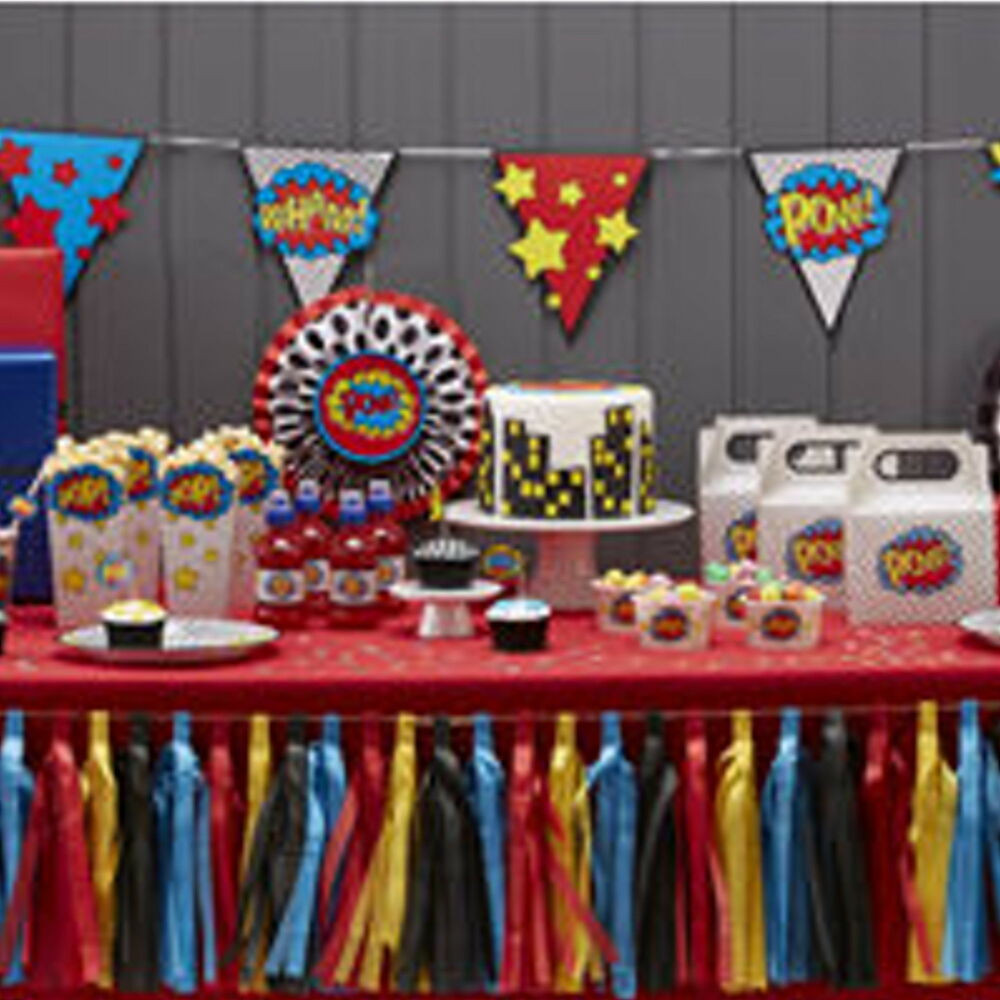 Best ideas about Superhero Birthday Decorations . Save or Pin IC SUPERHERO POW KABOOM BIRTHDAY PARTY TABLEWARE Now.