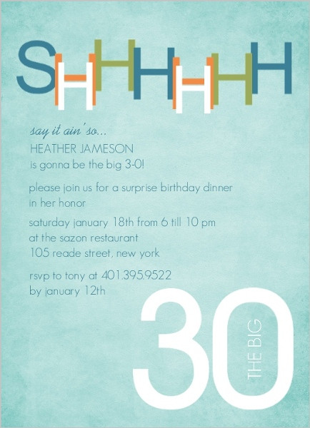 Best ideas about Surprise 30th Birthday Invitations . Save or Pin Blue And Green Surprise 30Th Birthday Invitation Now.