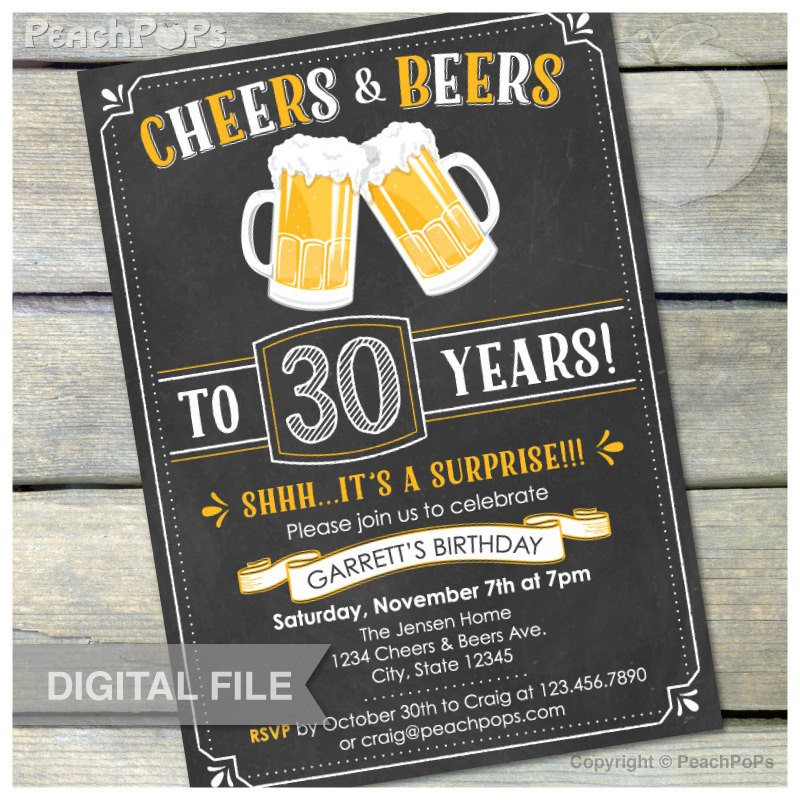 Best ideas about Surprise 30th Birthday Invitations . Save or Pin Surprise 30th Birthday Invitation Cheers & Beers Invite Now.