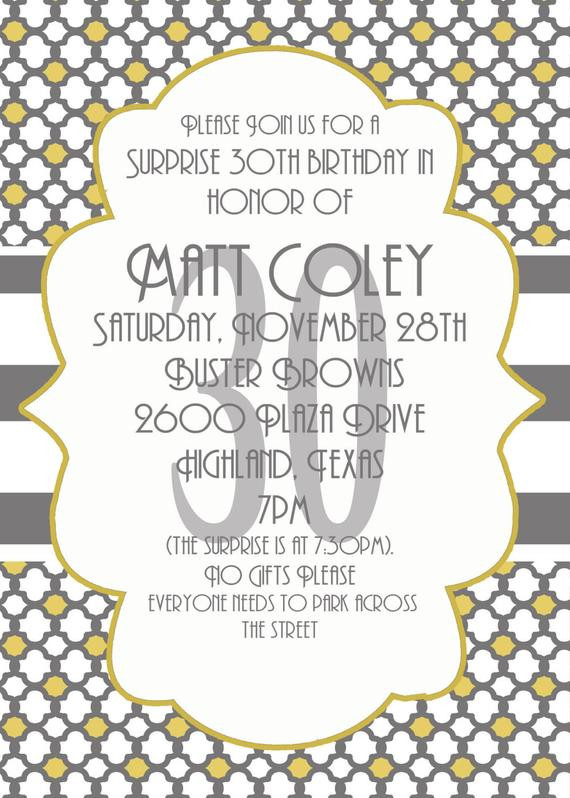 Best ideas about Surprise 30th Birthday Invitations . Save or Pin Surprise Party invitation 30th Birthday Invitation Digial Now.