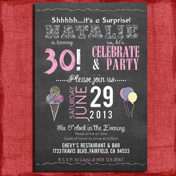 Best ideas about Surprise 30th Birthday Invitations . Save or Pin Surprise 21st 30th 40th 50th Chalkboard Style Birthday Now.
