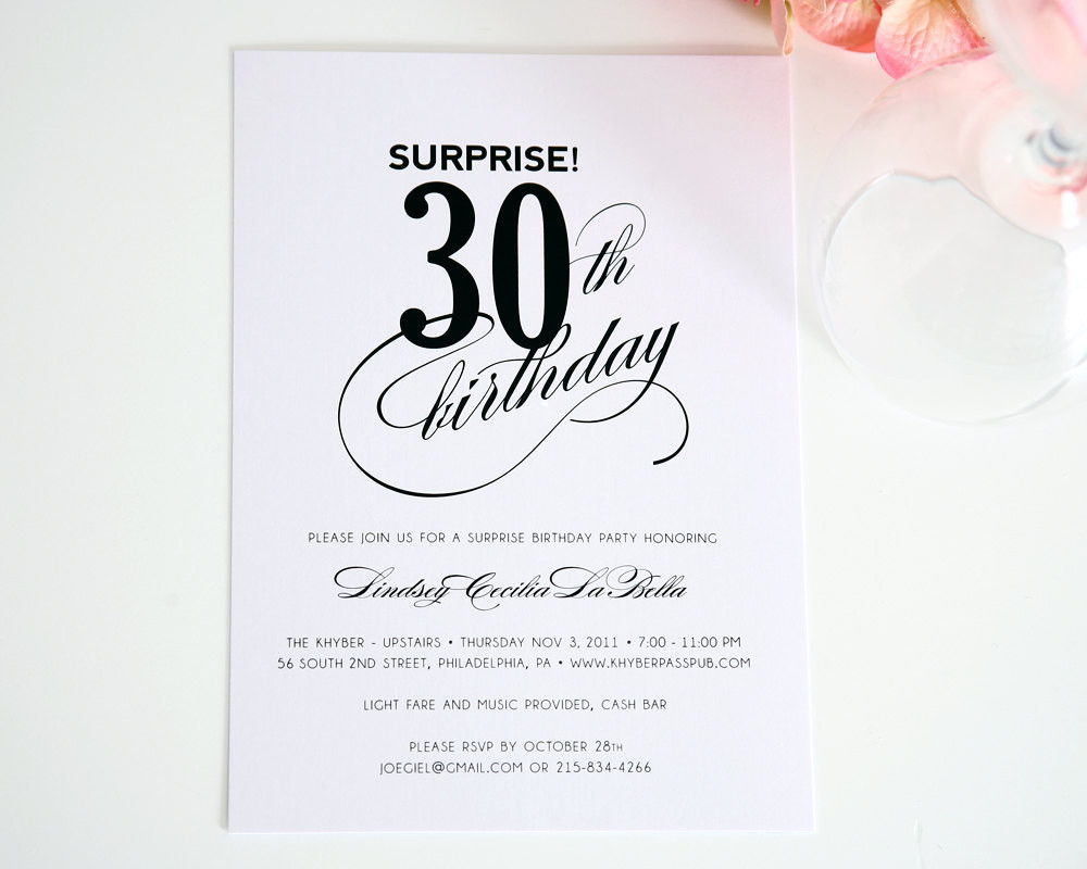 Best ideas about Surprise 30th Birthday Invitations . Save or Pin Surprise Birthday Invitation Surprise Party by Now.