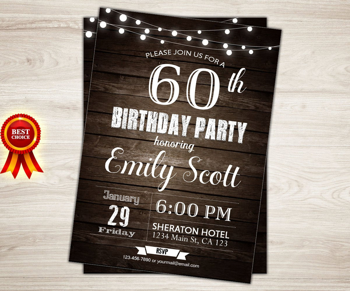 Best ideas about Surprise 60th Birthday Invitations . Save or Pin Surprise 60th birthday invitation Man Surprise birthday party Now.