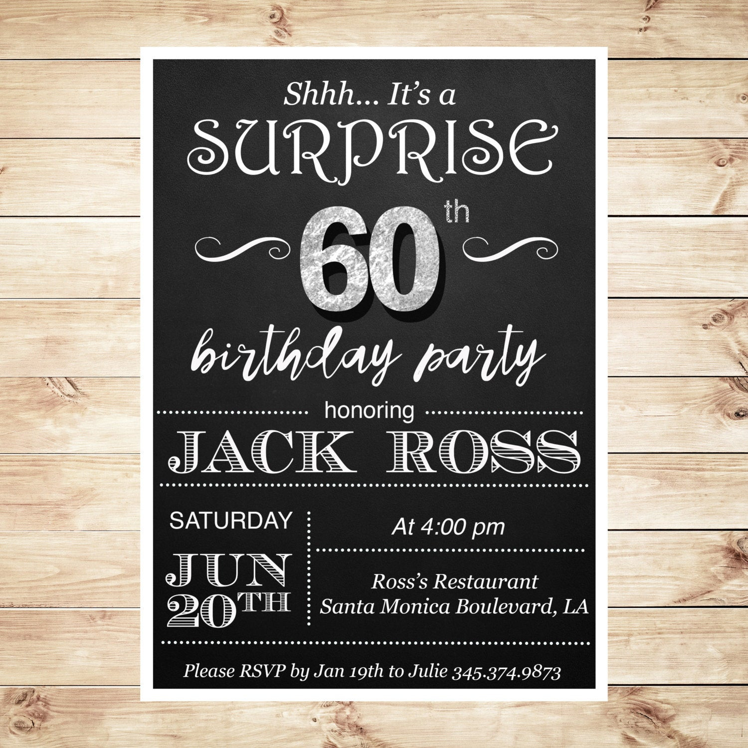 Best ideas about Surprise 60th Birthday Invitations . Save or Pin 60th Birthday surprise party invitations by DIYPartyInvitation Now.