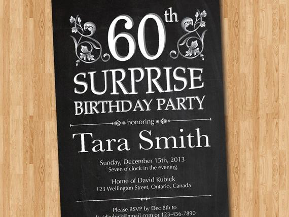 Best ideas about Surprise 60th Birthday Invitations . Save or Pin 60th Surprise Birthday Invitation Chalkborad Birthday Party Now.
