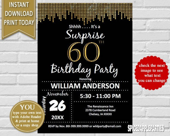 Best ideas about Surprise 60th Birthday Invitations . Save or Pin Surprise 60th Birthday Invitation 60th Birthday Invite Now.