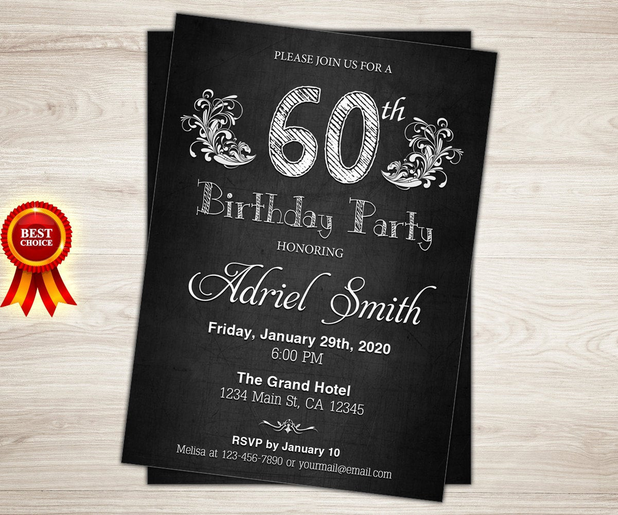 Best ideas about Surprise 60th Birthday Invitations . Save or Pin Surprise 60th birthday invitation Chalkboard 60th Birthday Now.
