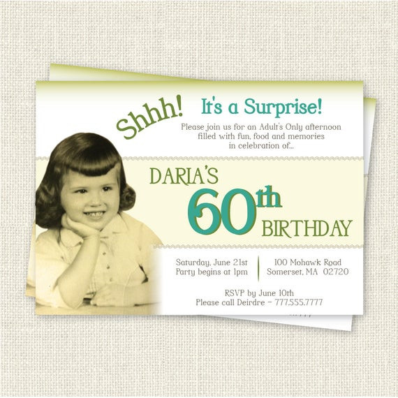Best ideas about Surprise 60th Birthday Invitations . Save or Pin Surprise 60th Birthday Invitation Digital Printable File Now.