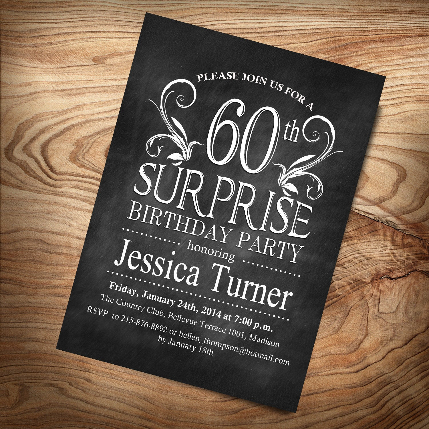 Best ideas about Surprise 60th Birthday Invitations . Save or Pin Surprise 60th Birthday Invitation Any Age Digital Now.