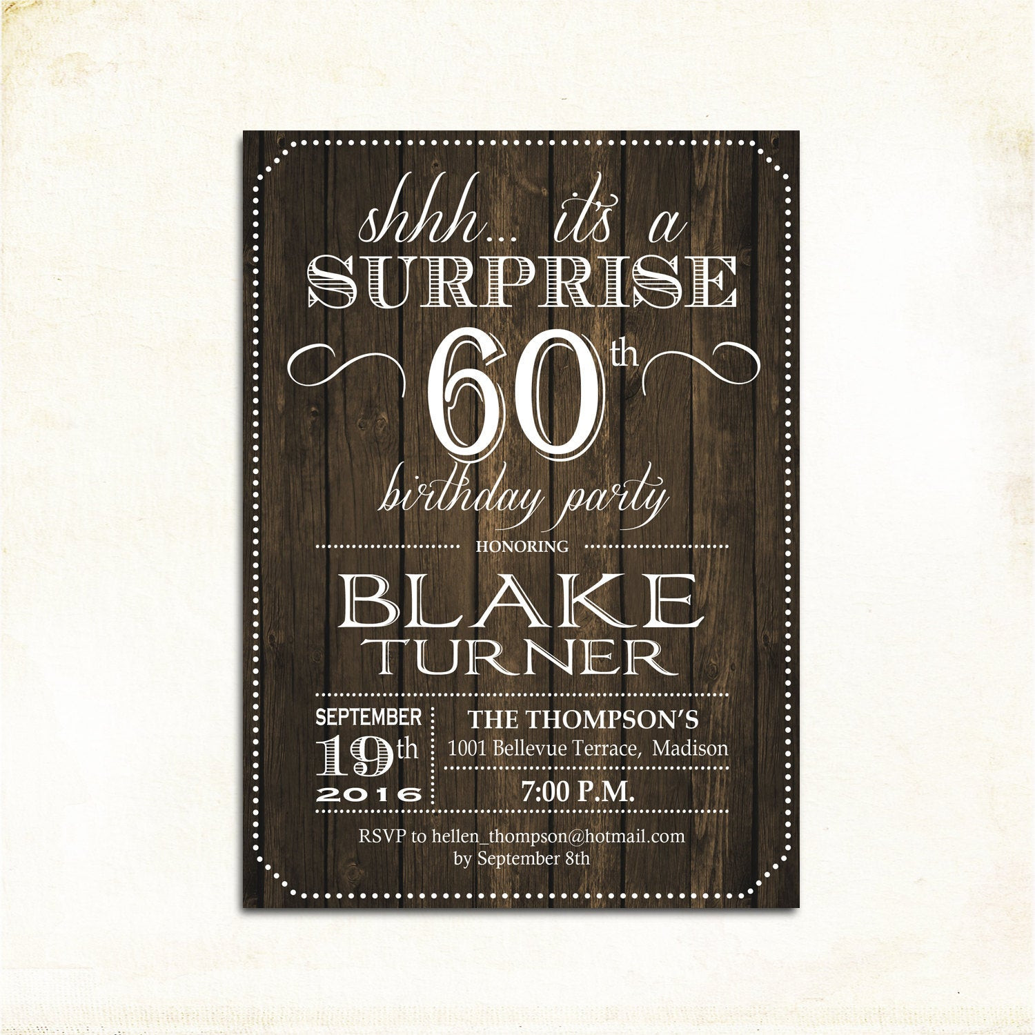 Best ideas about Surprise 60th Birthday Invitations . Save or Pin Surprise 60th Birthday Invitation Any Age Rustic Invite Now.