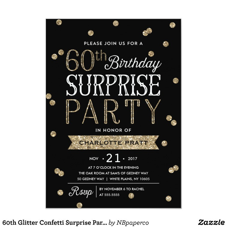 Best ideas about Surprise 60th Birthday Invitations . Save or Pin 60th Glitter Confetti Surprise Party Invitation Now.