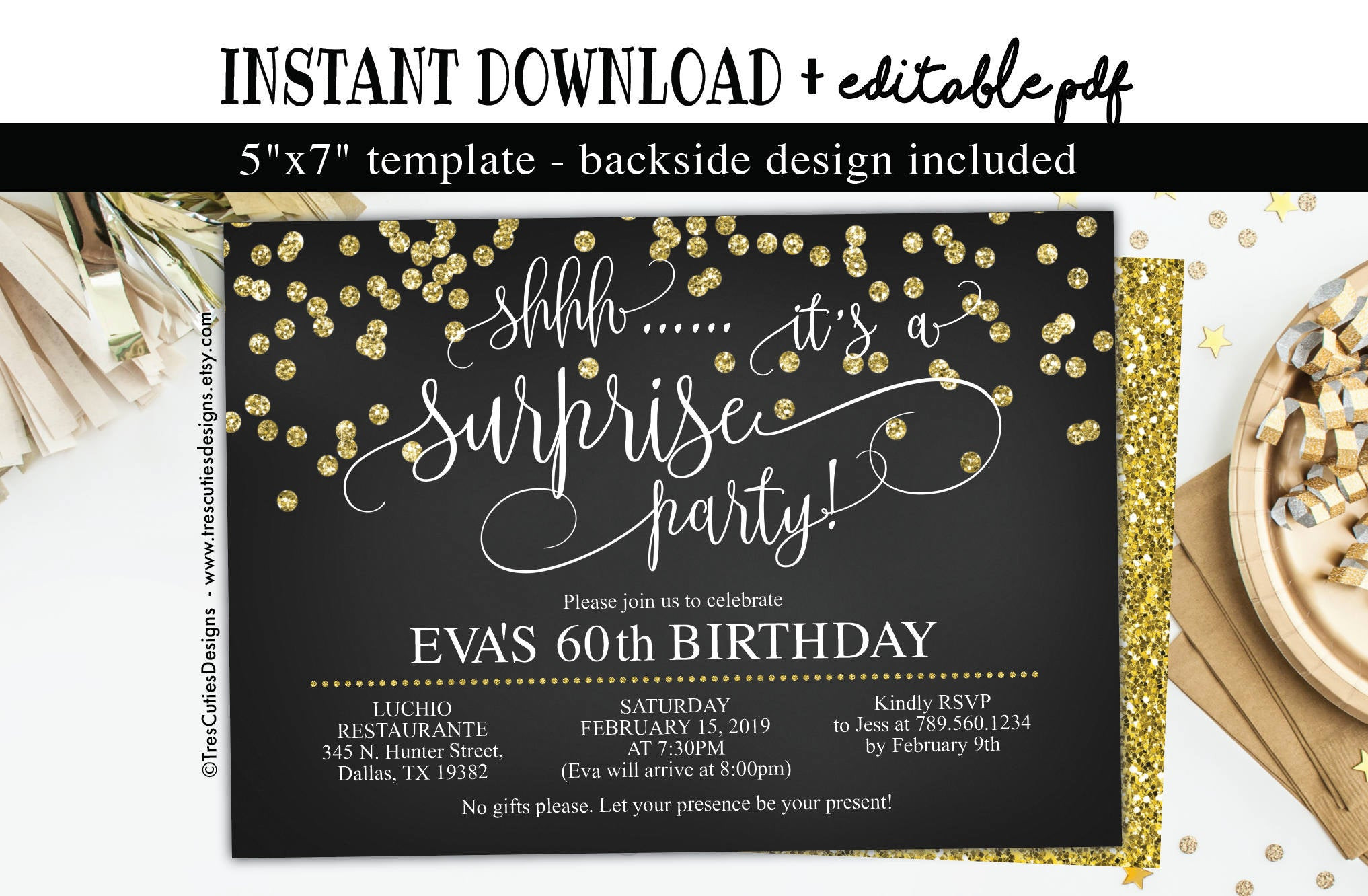 Best ideas about Surprise 60th Birthday Invitations . Save or Pin Surprise birthday invitation 60th birthday Party Black Now.