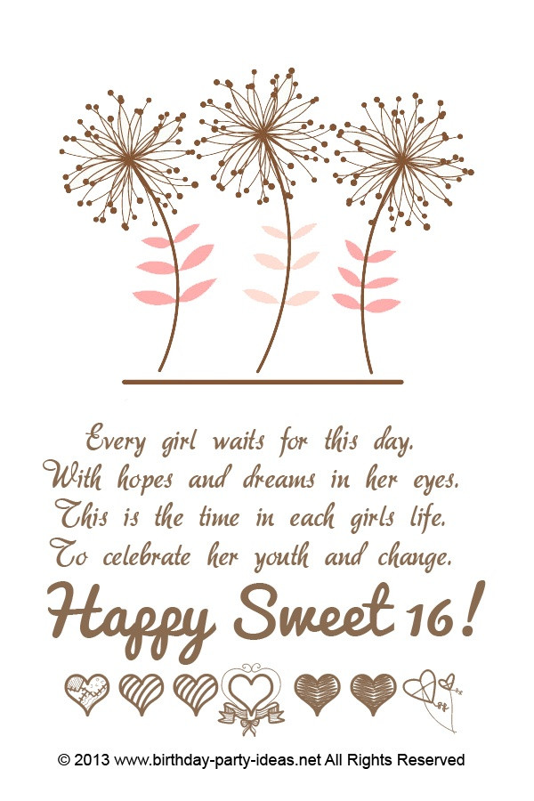 Best ideas about Sweet 16 Birthday Quote . Save or Pin 16th Birthday Quotes For Girls QuotesGram Now.