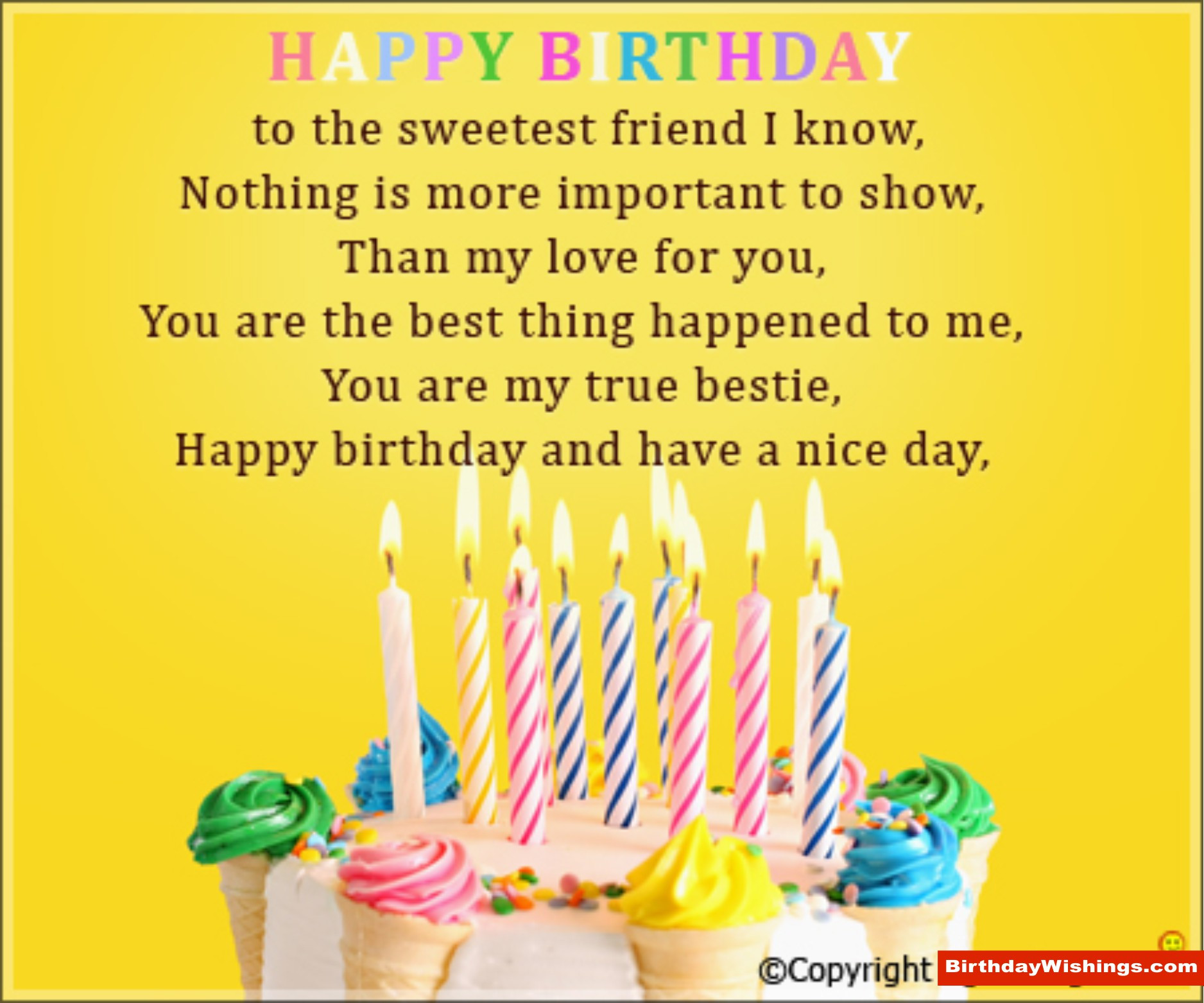 Best ideas about Sweetest Happy Birthday Quotes . Save or Pin Birthday Poem For Sweet Friend BirthdayWishings Now.