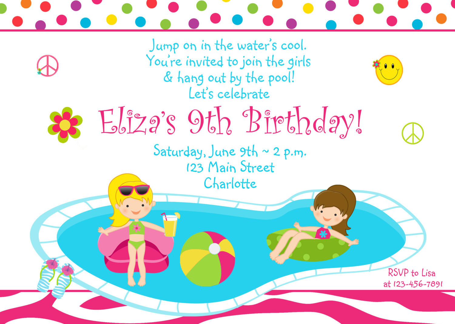 Best ideas about Swimming Birthday Party Invitations . Save or Pin Pool party birthday invitation girls pool party zebra Now.