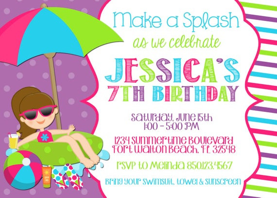 Best ideas about Swimming Birthday Party Invitations . Save or Pin Swimming Pool 5x7 Invitation Girl Birthday Party PRINTABLE Now.