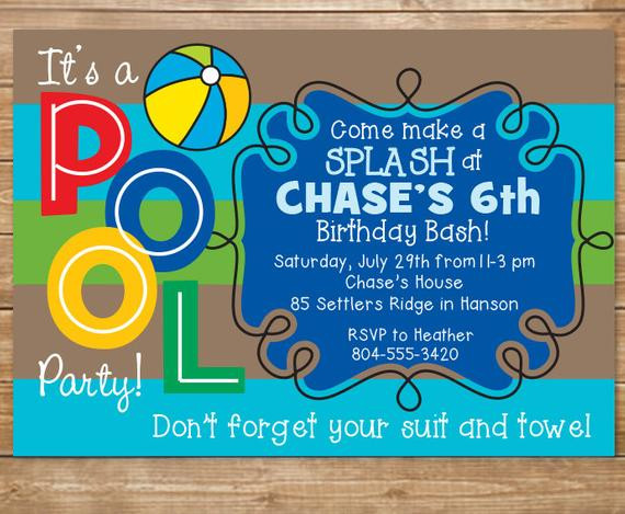 Best ideas about Swimming Birthday Party Invitations . Save or Pin Pool Birthday Party Invitation Boys Swimming Party Water Now.