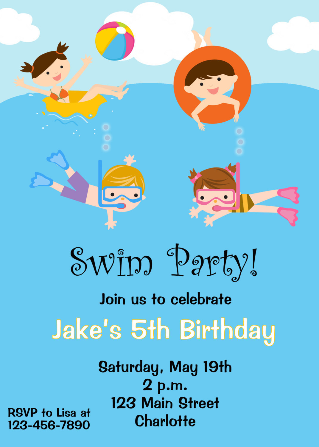 Best ideas about Swimming Birthday Party Invitations . Save or Pin Pool party birthday invitation pool party by TheButterflyPress Now.