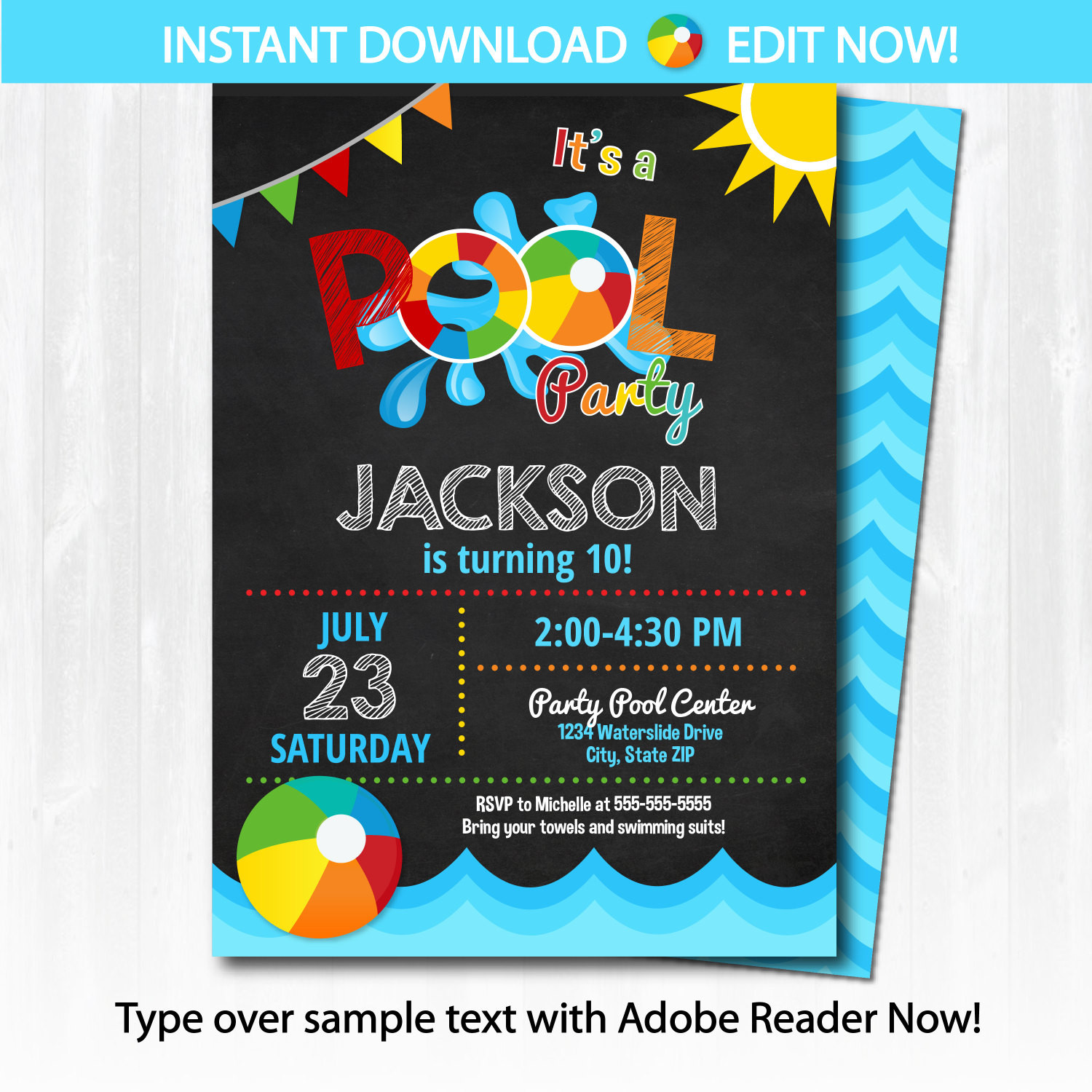 Best ideas about Swimming Birthday Party Invitations . Save or Pin Pool Party Invitation Swimming Pool Birthday Party by Now.