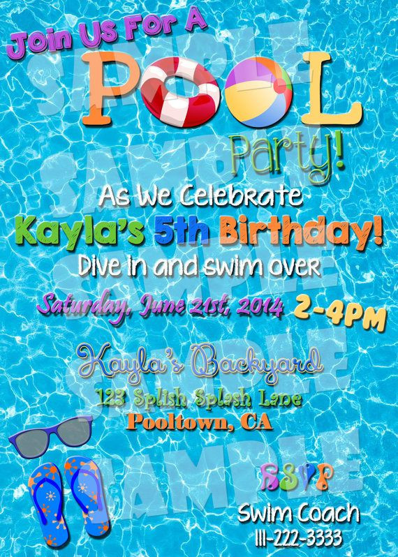 Best ideas about Swimming Birthday Party Invitations . Save or Pin POOL PARTY INVITE Pool Party Invitation Summertime Now.