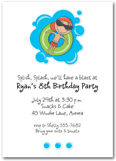 Best ideas about Swimming Birthday Party Invitations . Save or Pin Boy in Innertube Swim Party Invitations Kids Pool Party Now.